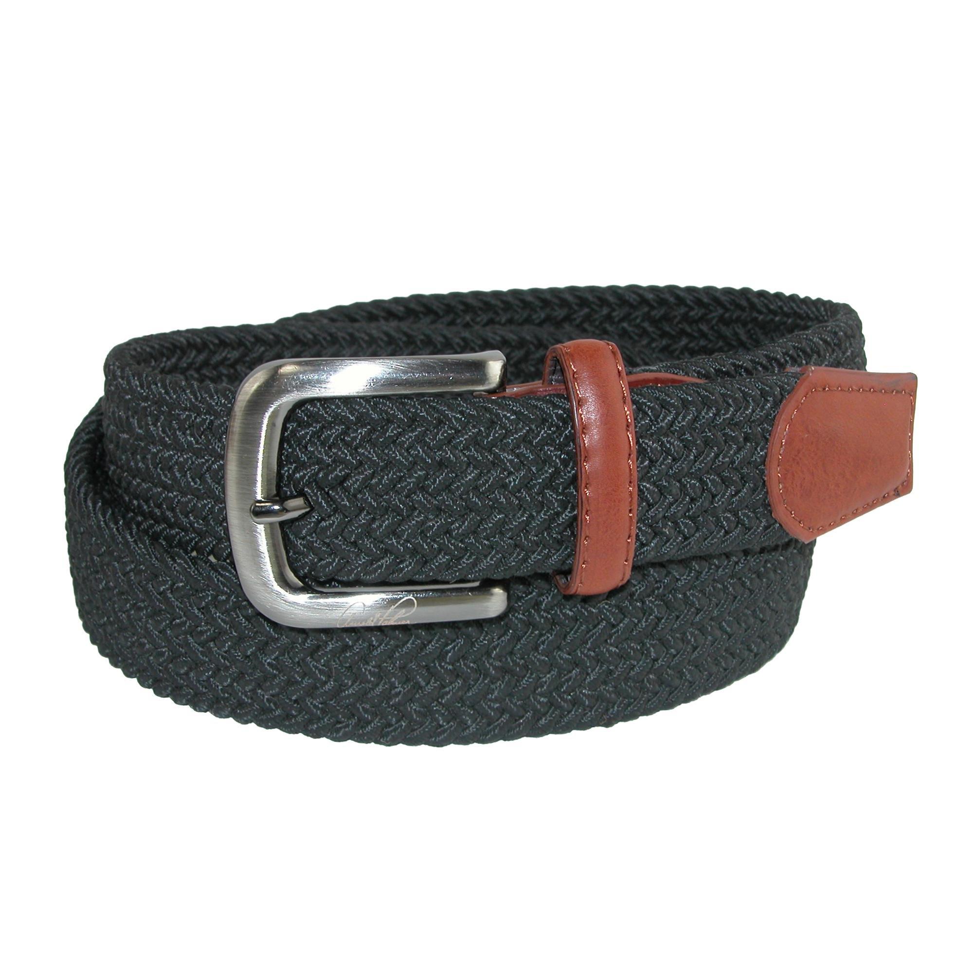 Arnold Palmer Men's Tubular Elastic Braided Belt, 36/38, Black