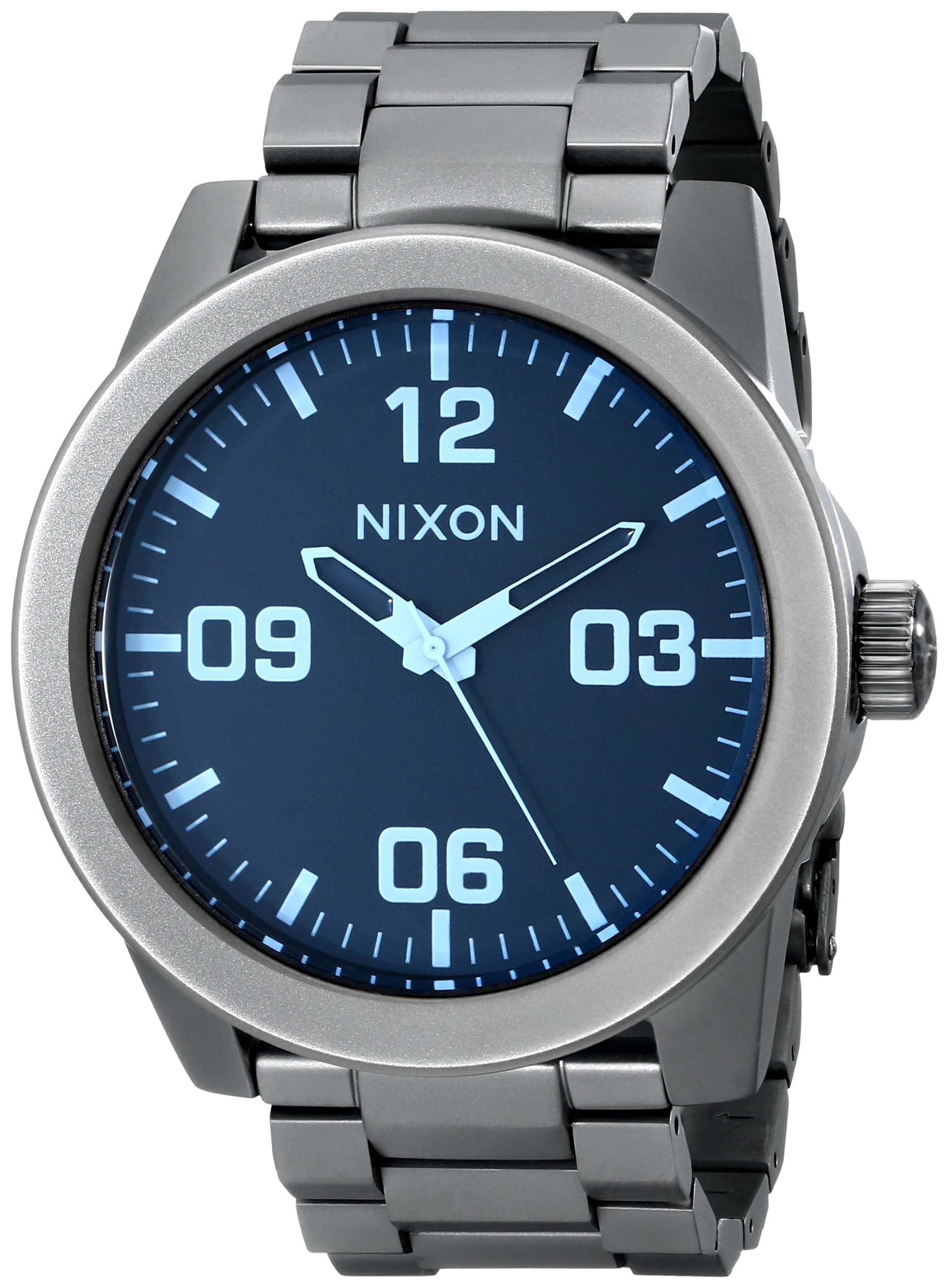 Nixon Men's Corporal Sterling Silver Watch One Size, Gunmetal/Blue Crystal