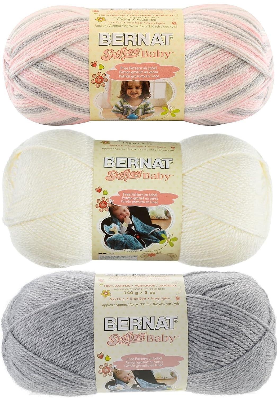 Amazon.com: Bernat Softee Baby Acrylic Yarn 3 Pack Bundle Includes 3 ...