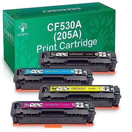 GREENSKY 4 Paquetes CF530A 205A CF531A CF532A CF533A Cartucho de ...