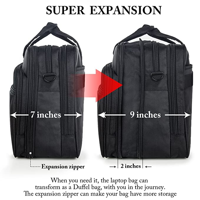 73cdae484906a5 Amazon.com: 17 inch Laptop Bag, Travel Briefcase with Organizer, Expandable  Large Hybrid Shoulder Bag, Water Resisatant Business Messenger Briefcases  for ...