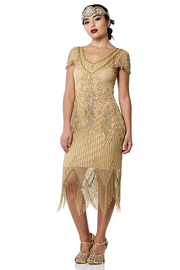 1920s Plus Size Flapper Dresses, Gatsby Dresses, Flapper Costumes gatsbylady london Annette Vintage Inspired Fringe Flapper Dress in Antique Gold $115.70 AT vintagedancer.com