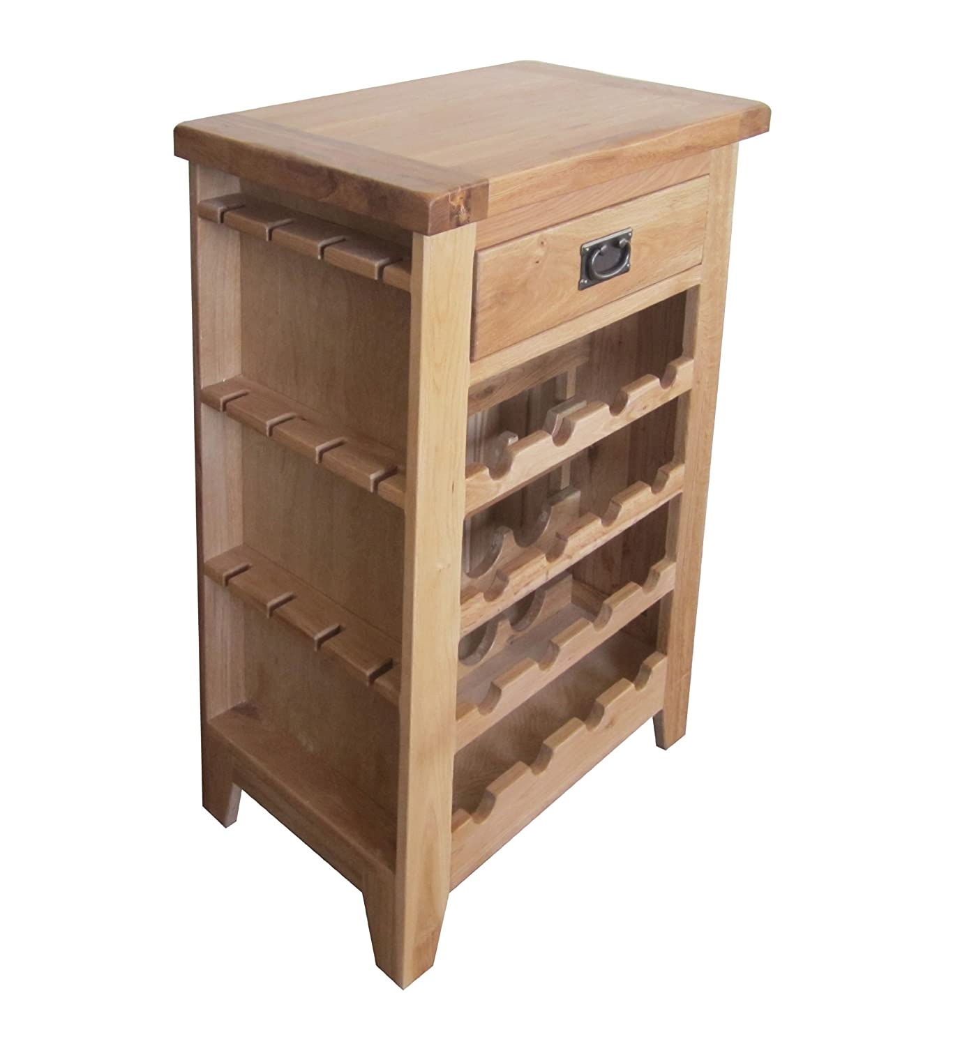 Alton oak corner cabinet oak furniture solutions - Balmoral Natural Oak Rustic Farmhouse Wine Cabinet Rack With Drawer And Wine Glass Holder Amazon Co Uk Kitchen Home