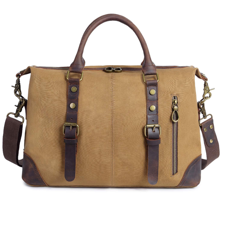 EverVanz Canvas Leder Umhängetasche Multifunktionale Schultertasche Business Handtasche Reise Aktentasche