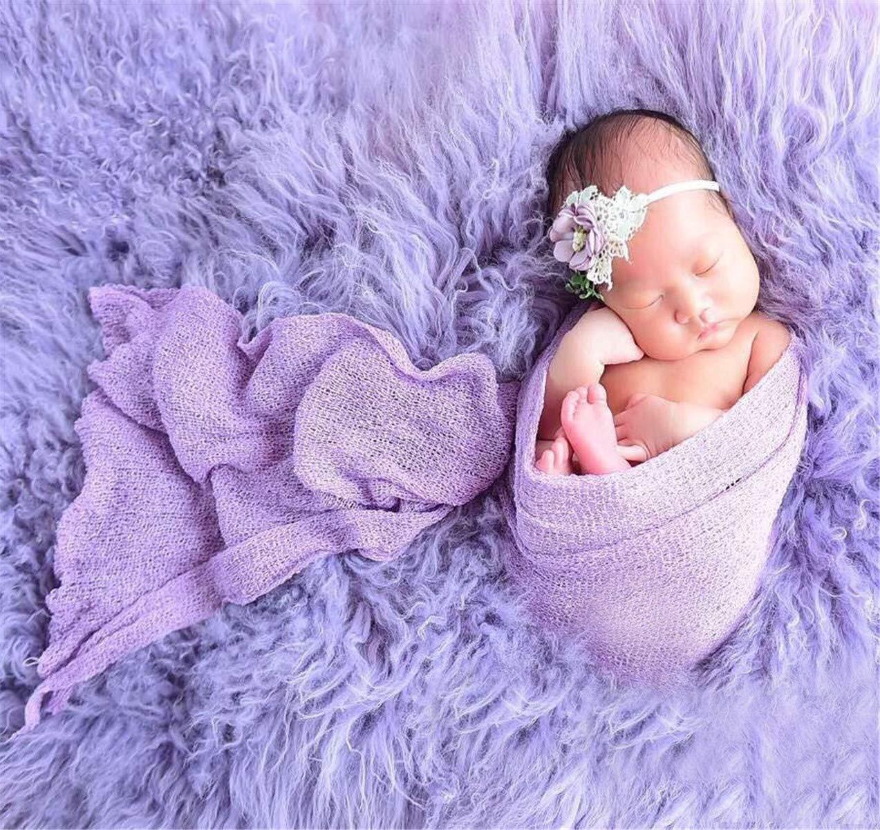 Newborn Baby Stretch Knit Wrap,Photography Photo Props Rainbow Tassel Blanket(Include Headband Photography Photo Props Rainbow Tassel Blanket/(Include Headband Tee-Mo