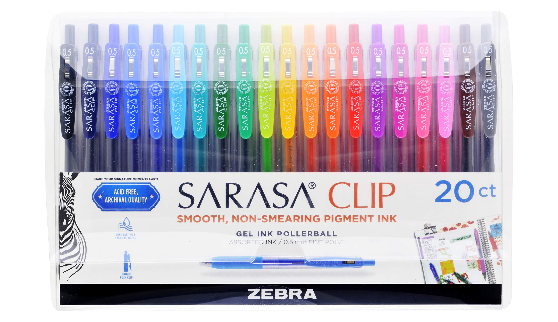 Zebra Pen Sarasa Clip Retractable Gel Ink Pens, Fine Point 0.5mm, Assorted Color Water Based Ink, 20-Count
