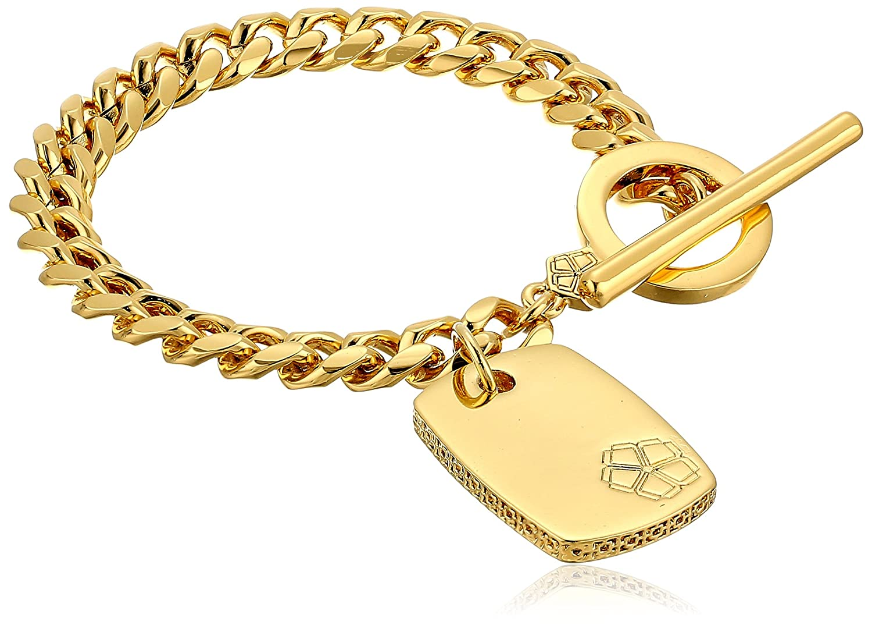 Trina Turk Basics Dogtag Gold Charm Bracelet, 7