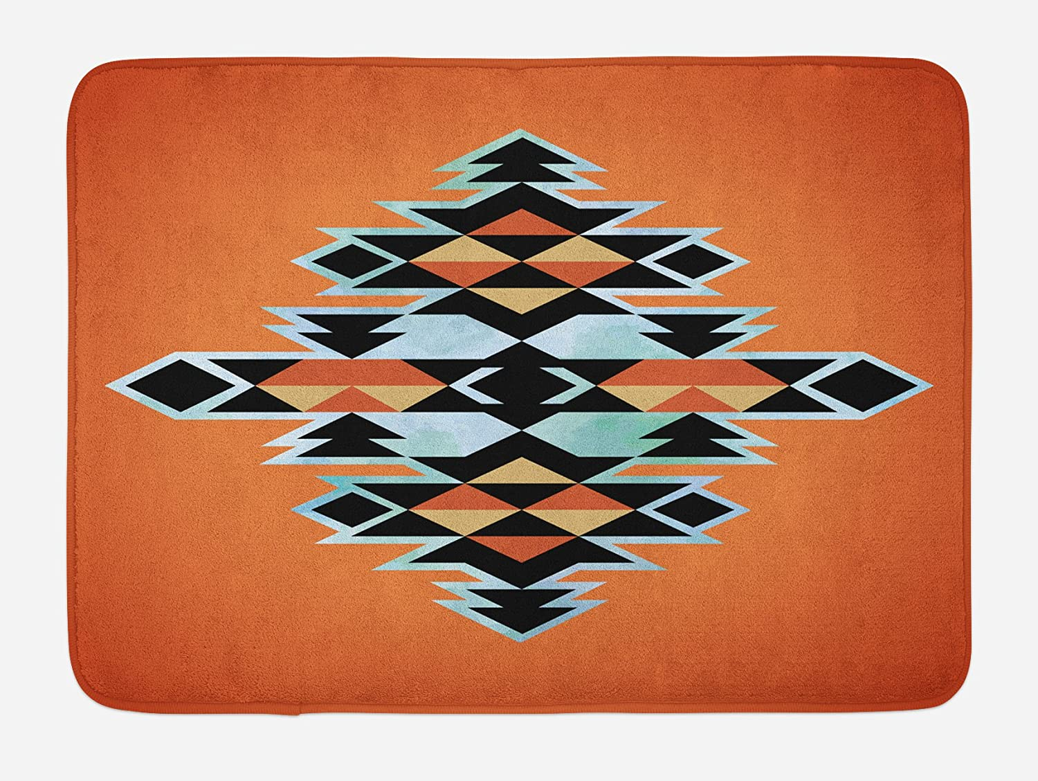 Ambesonne Tribal Bath Mat, Pattern Abstract Design Traditional Elements Print, Plush Bathroom Decor Mat with Non Slip Backing, 29.5