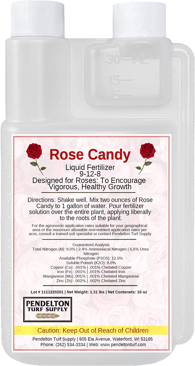 Rose Candy 9-12-8 with Micro-nutrients   Liquid Fertilizer Designed to Encourage Vigorous Growth in Roses (32 oz)