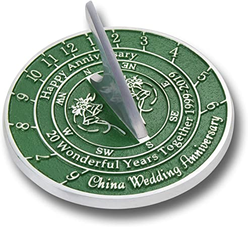 The Metal Foundry Personalised 20th China Wedding Anniversary Large Sundial Gift Idea Is A Great Present For Him For Her Or For A Couple To Celebrate 20 Years Of Marriage Amazon Co Uk Kitchen