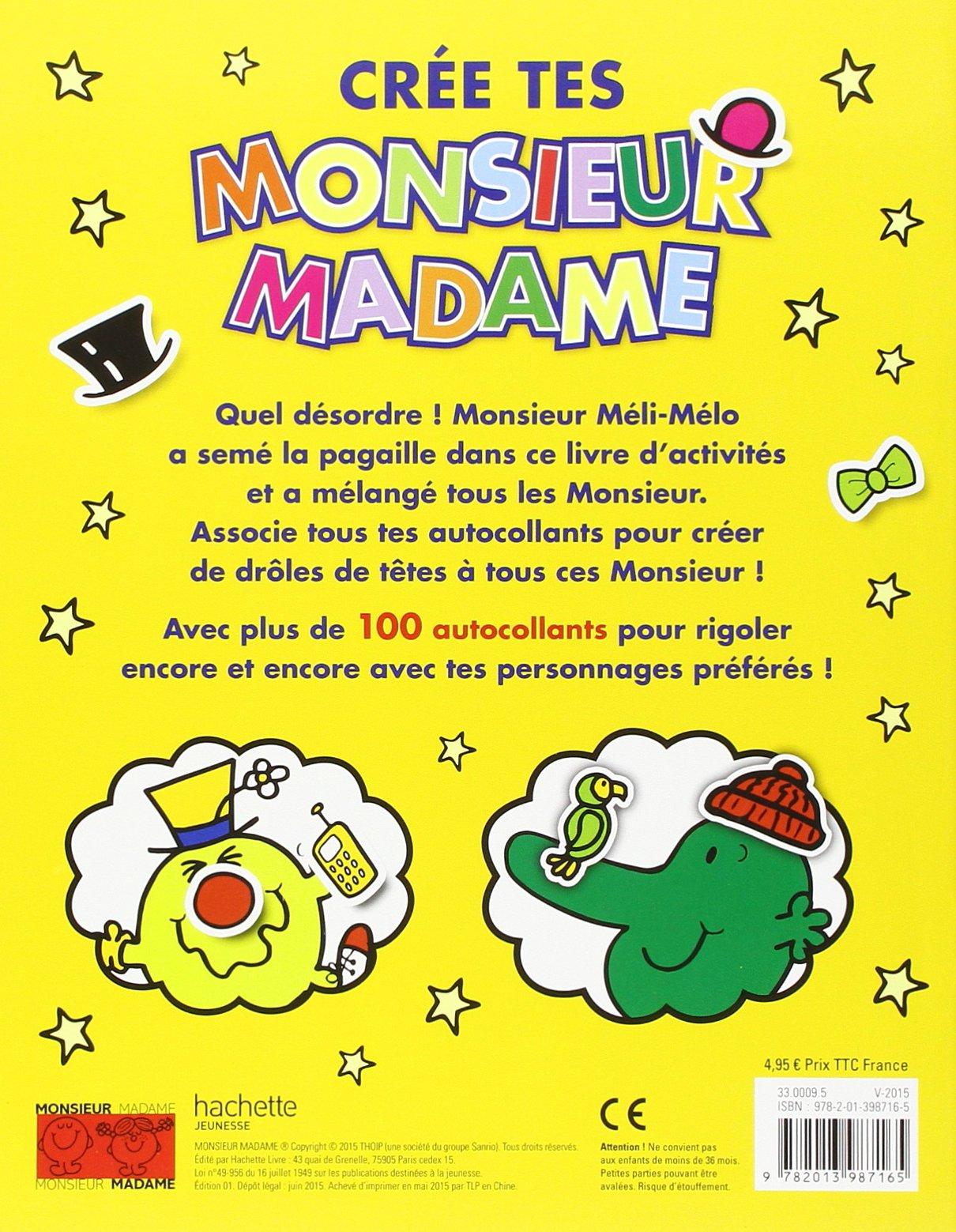 Livre D Activites Cree Tes Monsieur Madame 9782013987165