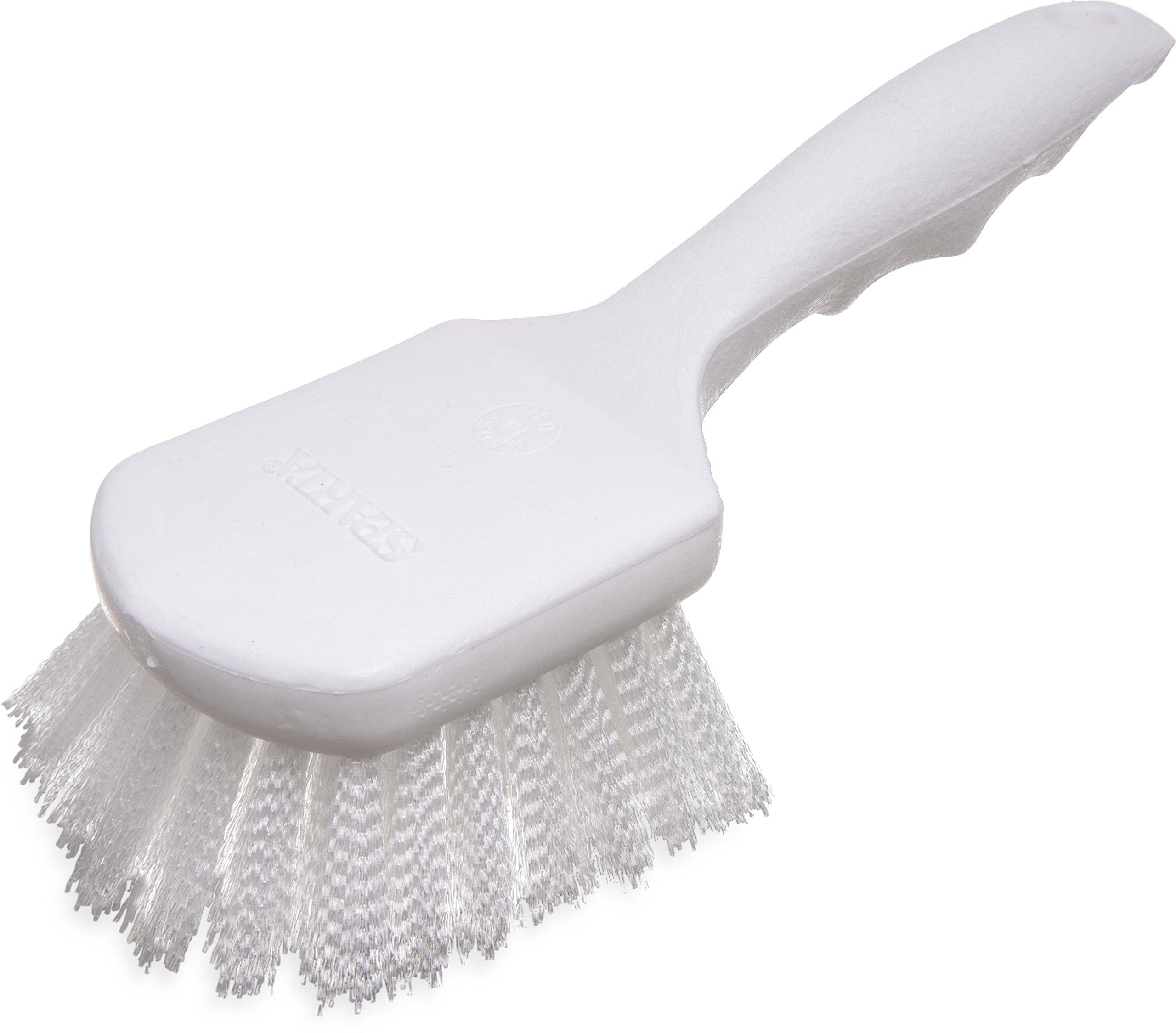 Carlisle 4054200 Sparta Plastic Handle Brush, Medium Stiff Nylon Bristles, 8'' Length x 3'' Width, 1-1/4'' Bristle Trim