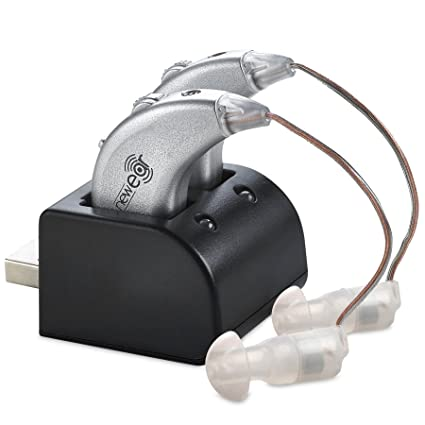 Amplificadores digitales de NewEar. Par de amplificadores de sonido personal recargable BTE con puerto USB