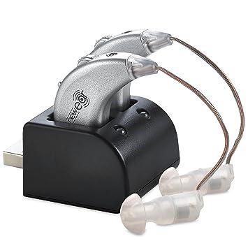 Amplificadores digitales de NewEar. Par de amplificadores de sonido personal recargable BTE con puerto USB - Amplificación de sonido premium de NewEar: ...