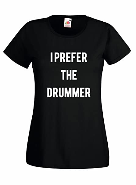 "Camiseta Mujer ""I prefer the Drummer"" - camiseta rock 100% algodon LaMAGLIERIA"