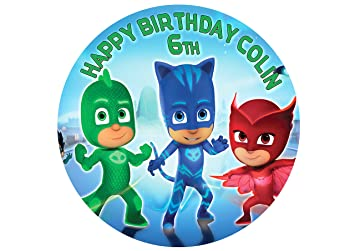 "PJ Masks Catboy Owlette Gekko Cake Image Personalized Topper Icing Sugar Paper 8"" Round Circle"