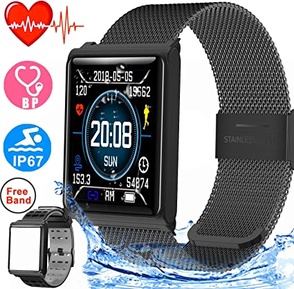 Duperym Smart Watch for Men Women Waterproof Sport Fitness Tracker Outdoor Great Gifts with Heart Rate Blood Pressure Sleep Monitor Wearable Wristband ...