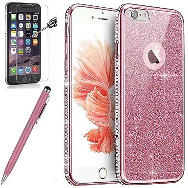 Kompatibel mit iPhone 6S Hülle,iPhone 6 Hülle,[Hartglas Schutzfolie Stylus] Strass Diamant Bling Glitzer Überzug TPU Silikon