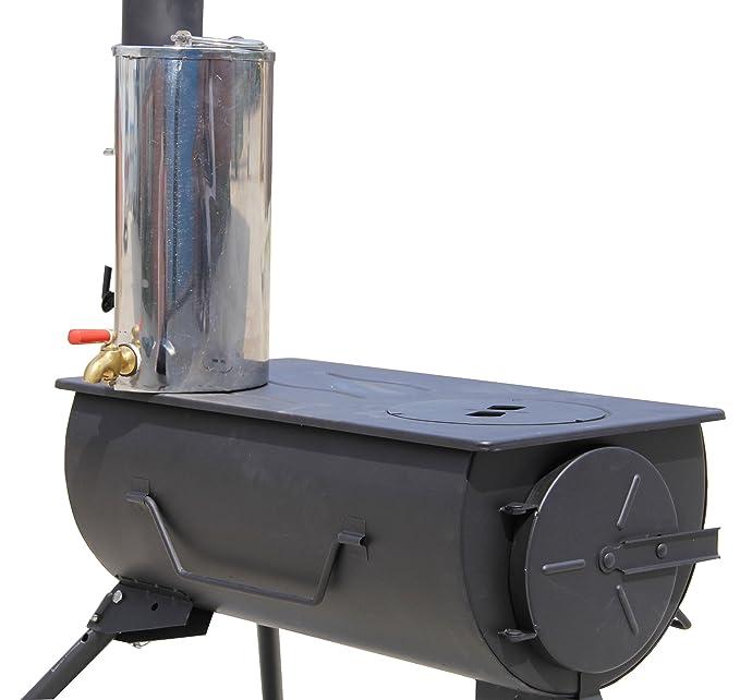 Comfort Portátil Estufa de Leña con Calentador de Agua Camping Cocina Bolsa de Transporte: Amazon.es: Jardín