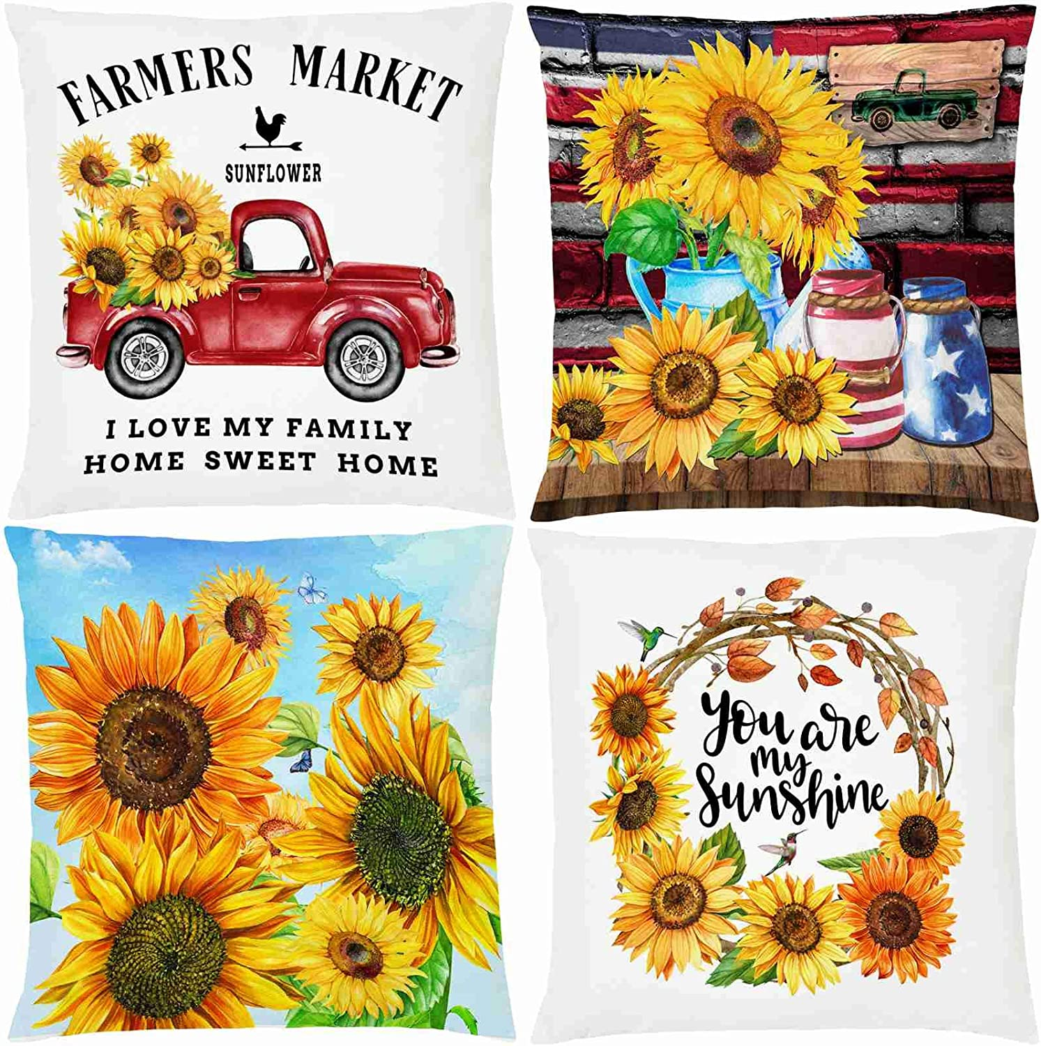 """AOKDEER Farmhouse Pillow Covers, Sunflower Indoor Outdoor Lumbar Couch Throw Pillow Covers 18"""" x18"""", Farm Home Decorations Housewarming Gifts Pillow Cases for Sleep Living Room Bed Sofa Set of 4"""