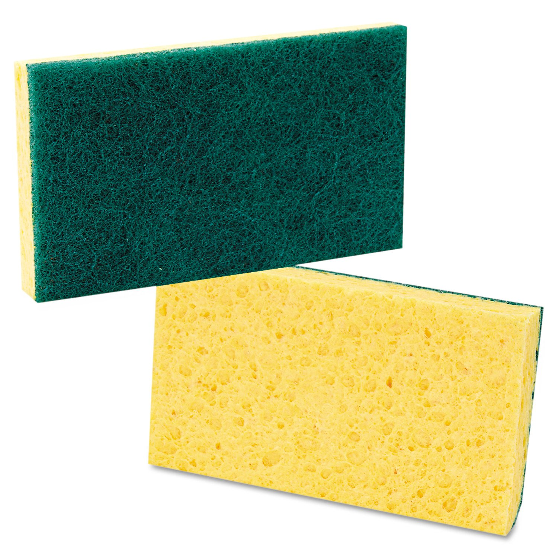 3 3//5 x 6 1//10 Case of 20 Boardwalk 174 Medium Duty Scrubbing Sponge Yellow//Green