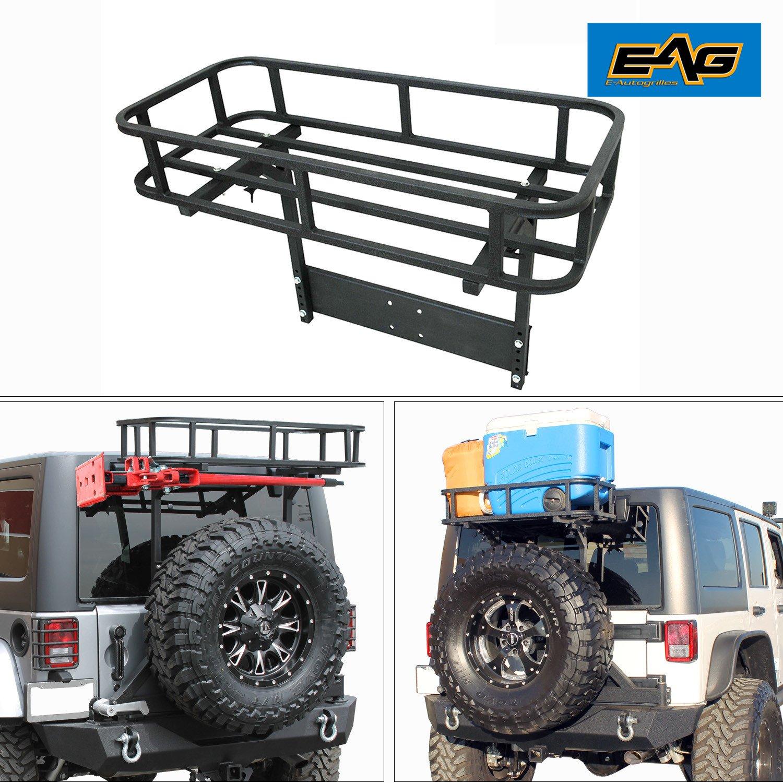 EAG Steel Rear Cargo Carrier Basket With Hi-Lift Jack Mount for EAG Rear Bumper (JK Rear Bumper with Tire Carrier & 51-0015 & 51-0011)