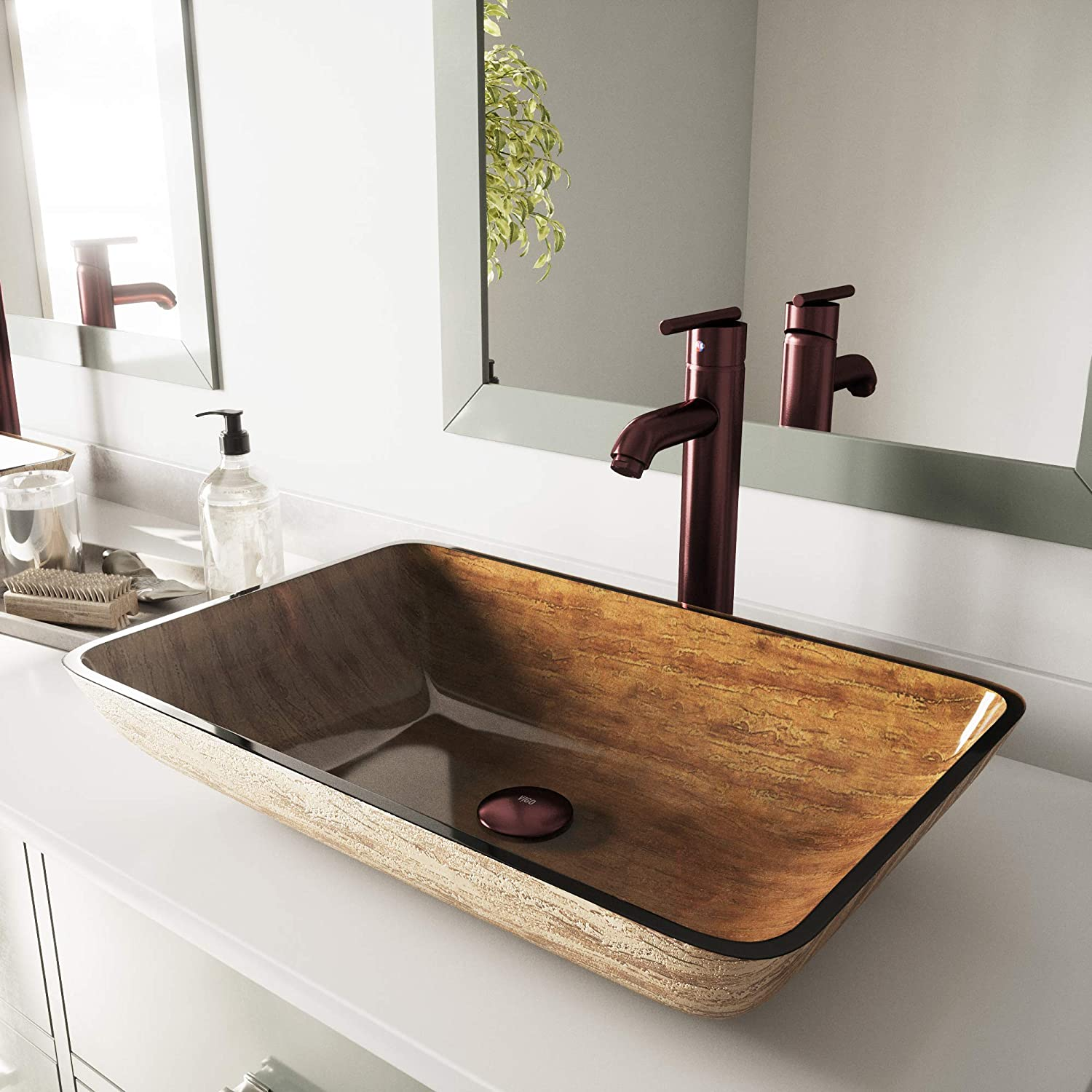 VIGO Rectangular Amber Sunset Glass Vessel Bathroom Sink and Seville Vessel Faucet with Pop Up, Oil Rubbed Bronze