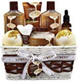 Bath and Body Gift Basket For Women and Men - 9 Piece Set of Vanilla Coconut Home Spa Set, Includes Fragrant Lotions…