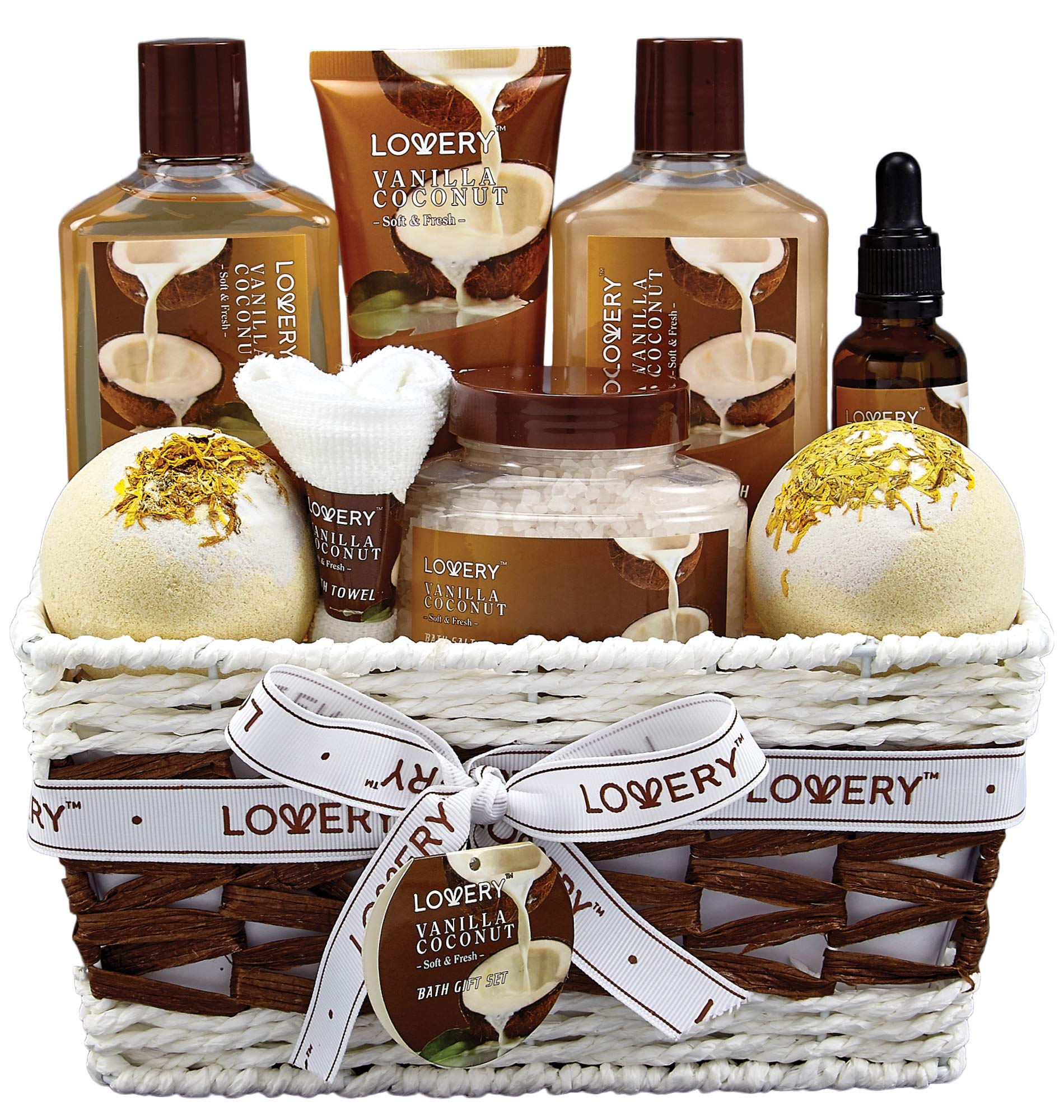 Bath and Body Gift Basket For Women and Men - 9 Piece Set of Vanilla Coconut Home Spa Set, Includes Fragrant Lotions, Extra Large Bath Bombs, Coconut Oil, Luxurious Bath Towel & More by LOVERY