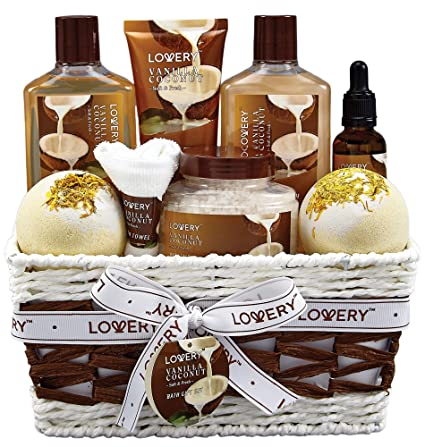 img buy Bath and Body Gift Basket For Women and Men – 9 Piece Set of Vanilla Coconut Home Spa Set, Includes Fragrant Lotions, Extra Large Bath Bombs, Coconut Oil, Luxurious Bath Towel & More