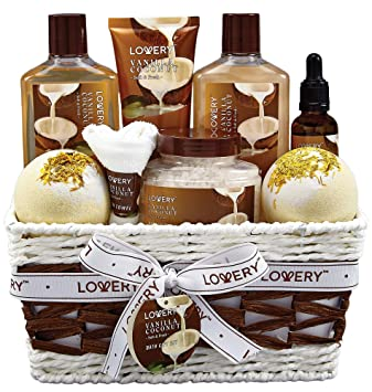 Bath and Body Gift Basket For Women and Men – 9 Piece Set of Vanilla Coconut