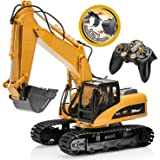 Top Race 15 Channel Full Functional Remote Control Excavator Construction Tractor, Excavator Toy with 2.4Ghz Transmitter…