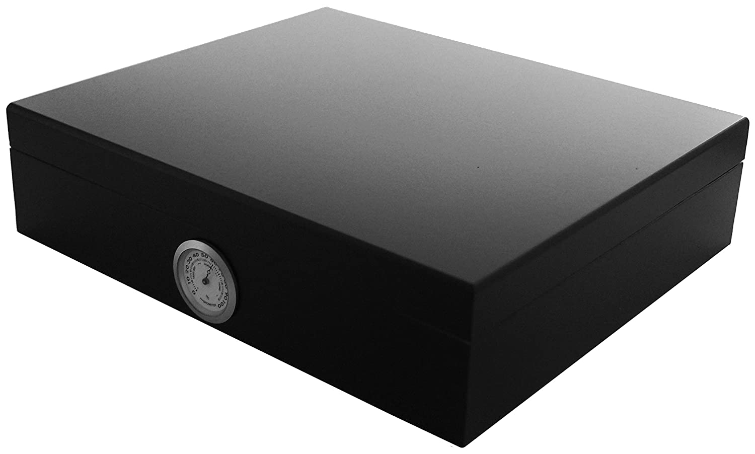 GERMANUS Cigar Humidor for approx. 30 Cigars, Black, with Hygrometer and Humidifier and GERMANUS Manual