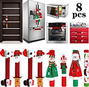 Boao 8 Pieces Christmas Refrigerator Door Handle Cover Santa Snowman Kitchen Appliance Handle Covers Decorations for Fridge Microwave Oven Dishwasher Christmas Handle Protector
