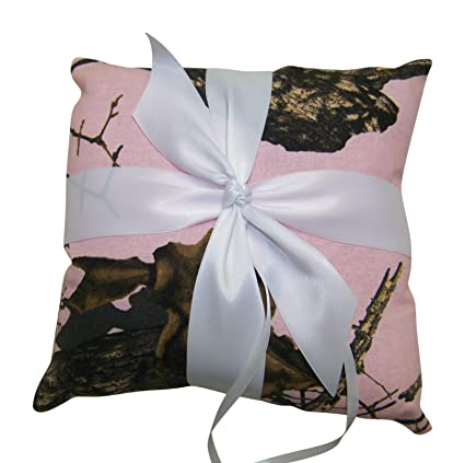 Amazon.com: Camuflaje, Color Rosa Anillo De Boda portador ...