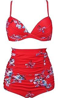 4642db263c COCOSHIP Women s Floral 50s Retro Convertible Push up Top Hook High Waist  Bikini Set Ruched Swimsuit