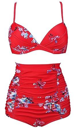9f6009d1df Amazon.com  COCOSHIP Women s Floral 50s Retro Convertible Push up Top Hook High  Waist Bikini Set Ruched Swimsuit(FBA)  Clothing