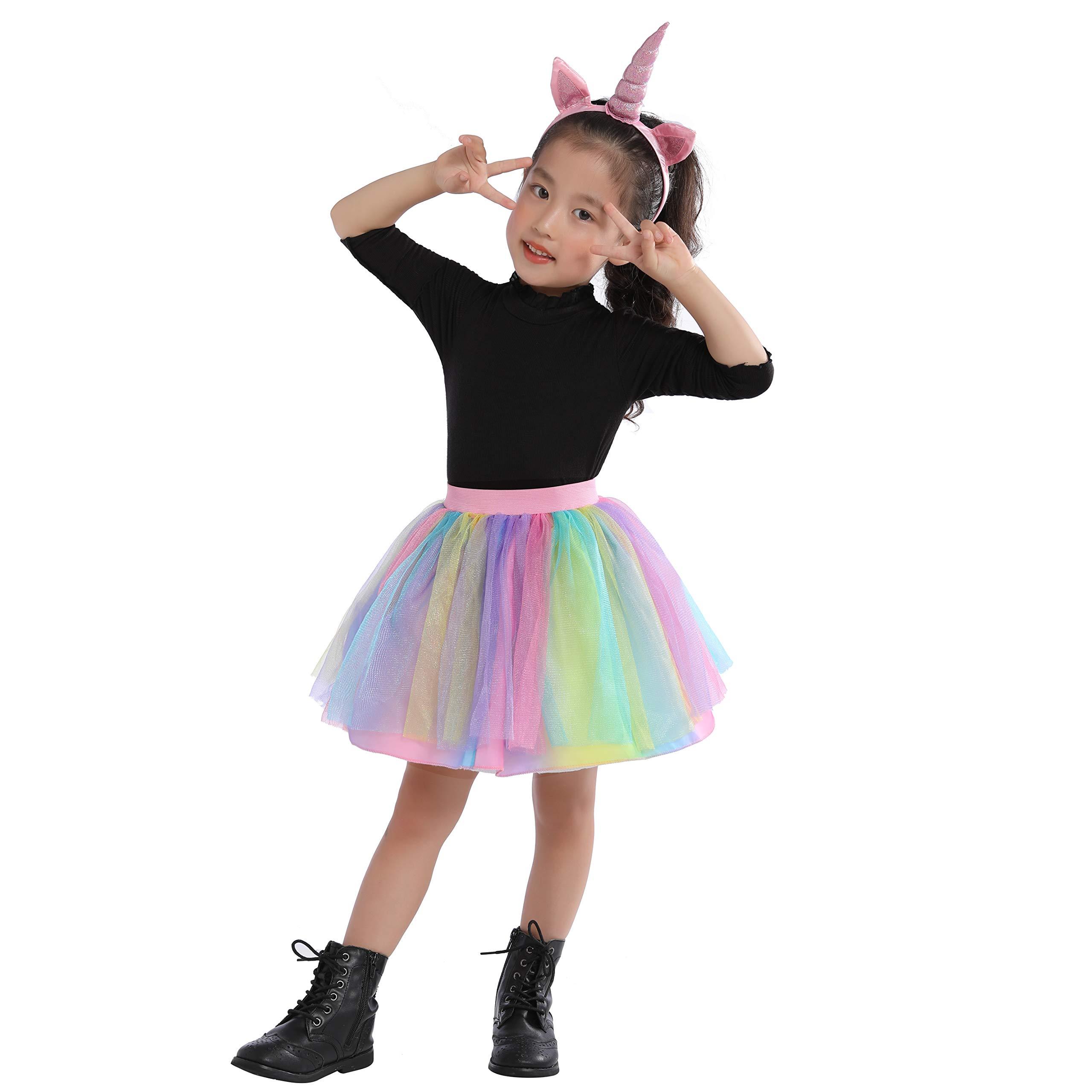 Girls Teenages Devil,Witch,Cat,Unicorn Tutu Set,Cute Tutu Dress with Related Headband Set (9-10yrs, Unicorn) by Leaderjoy