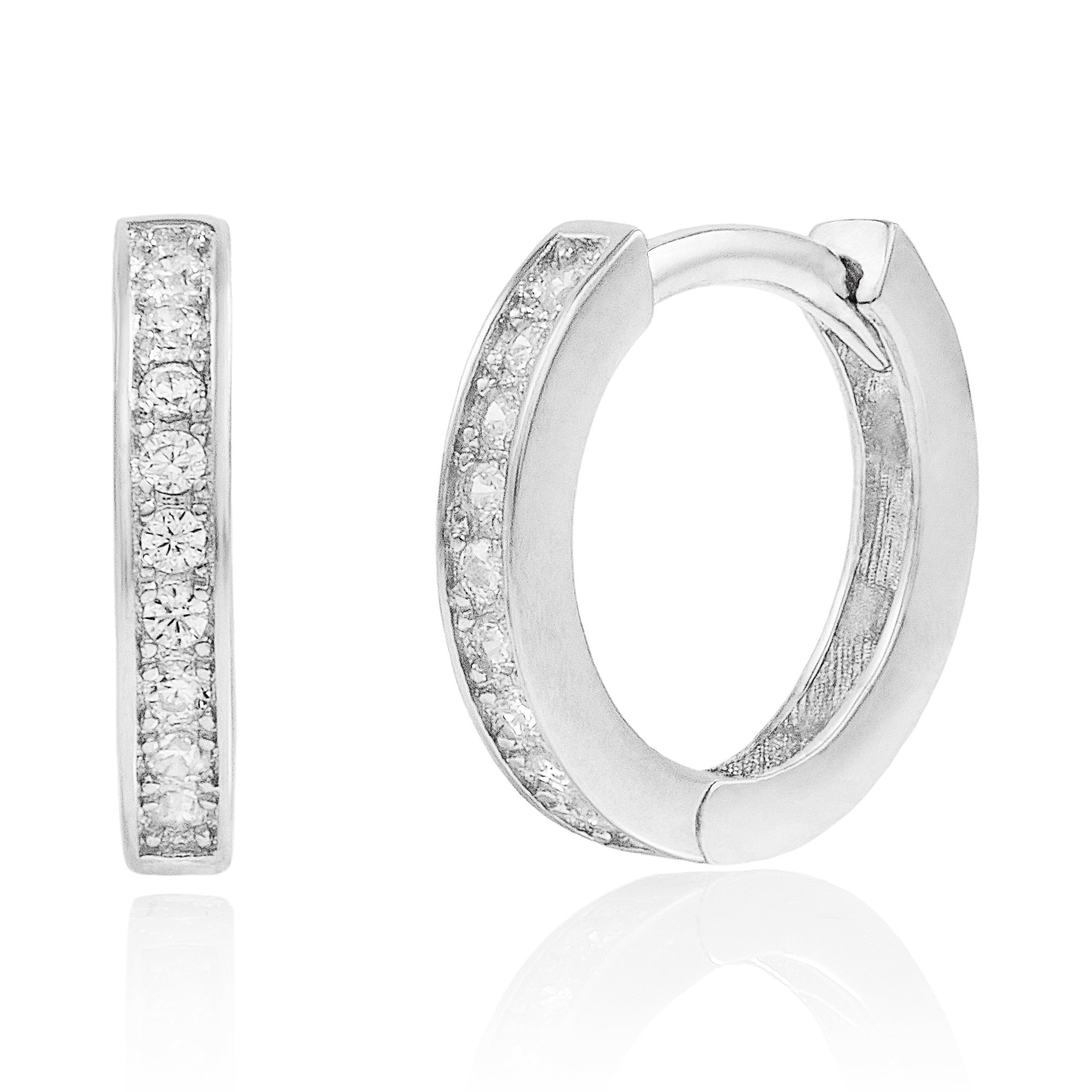 Rhodium Plated Sterling Silver Cubic Zirconia Huggie Hoop Earrings