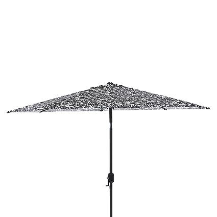 Pillow Perfect Black/White Damask 9 Foot Patio Umbrella