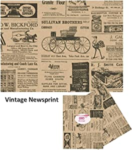 """Old Newsprint Tissue Paper - with Vintage Designs for Gift Wrapping 24 Decorative Sheets 20"""" X 30"""" (Newspaper)"""