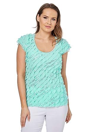 f15bdd2fd91 Roman Originals Women s Sequin Foil Print Frill Top - Ladies Tops - Aqua -  Size 20