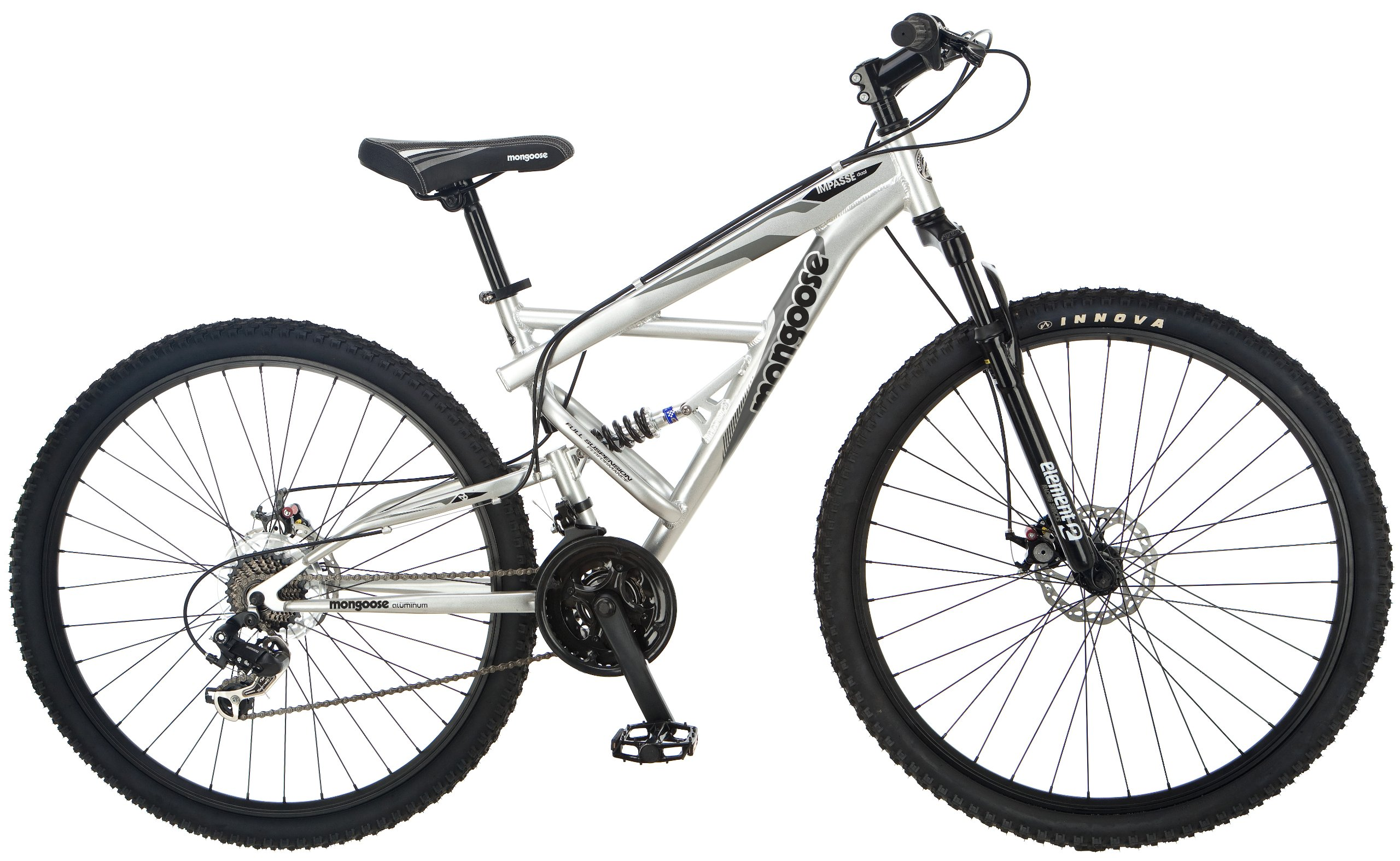 Mongoose Impasse Full Dual-Suspension Mountain Bike, Featuring 18-Inch/Medium Aluminum Frame and 29-Inch Wheels with Disc Brakes, Silver by Mongoose