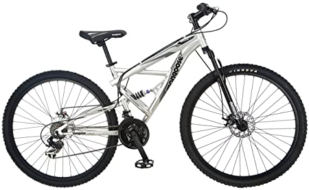 side facing mongoose impasse dual-suspension mountain bike