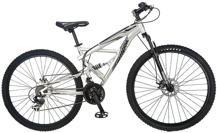 Mongoose Impasse Full Dual-Suspension Mountain Bike, Featuring 18-Inch/Medium Aluminum Frame and 29-Inch Wheels