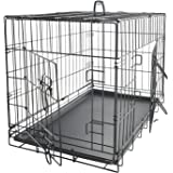 "OxGord 76cm 30"" Dog Crate, Double-Doors Folding Metal w/Divider & Tray 76 x 46 x 51 cm 2017 Newly Designed Model"