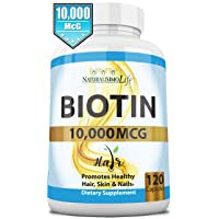 Biotin 10,000 mcg High Potency - Natural Hair, Skin, Nail & Metabolism 120 Capsules