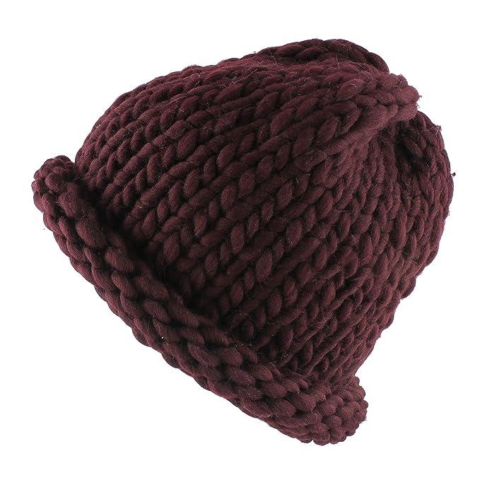 Morehats Medium Big Bulky Yarn Loopy Beanie Crochet Knit Winter Ski Warm  Helsinki Hat - Burgundy 6b116dd48e2