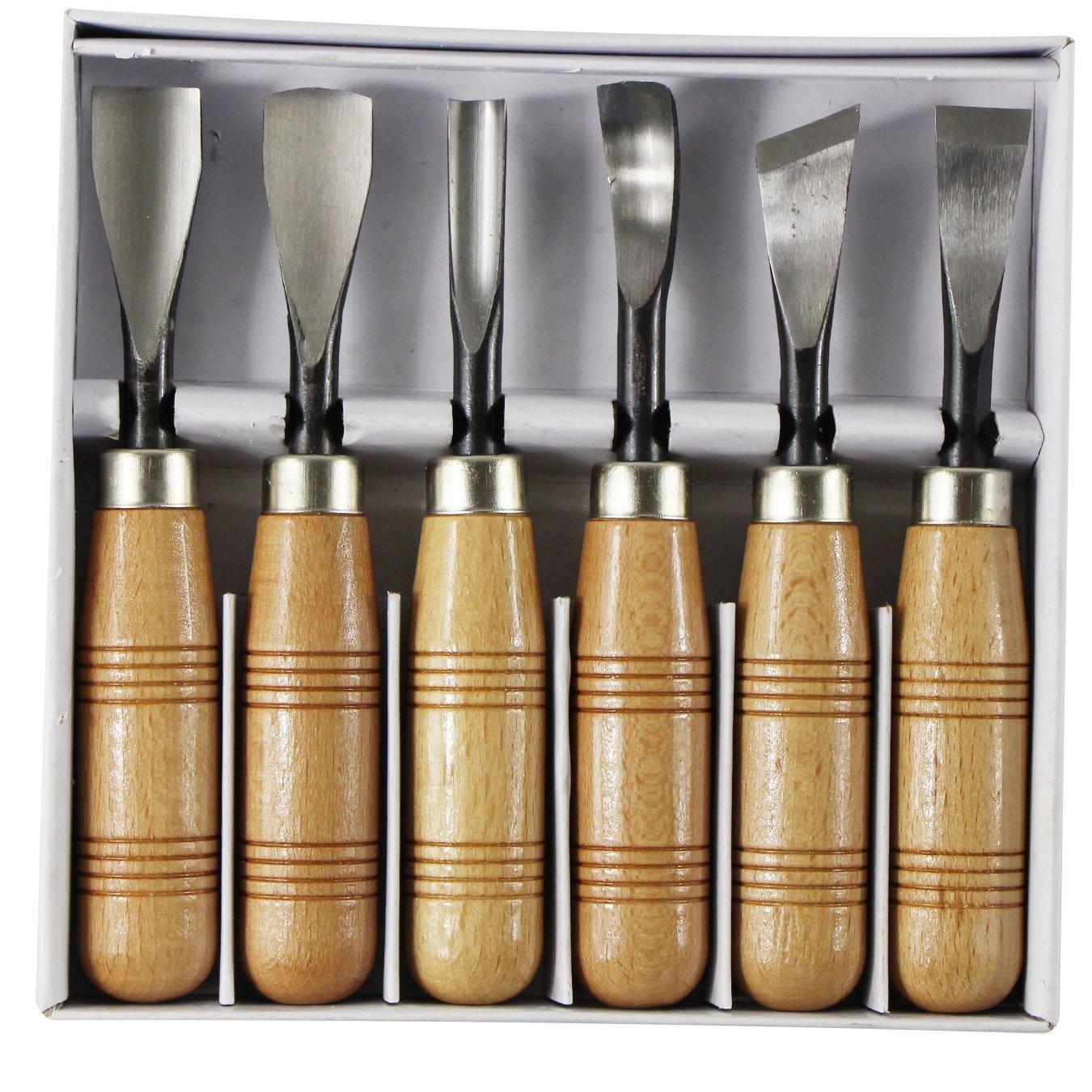 uooom 6 pc para tallar madera juego de cinceles profesionales para tallar madera afilar herramienta con mango de madera, 6pcs/set