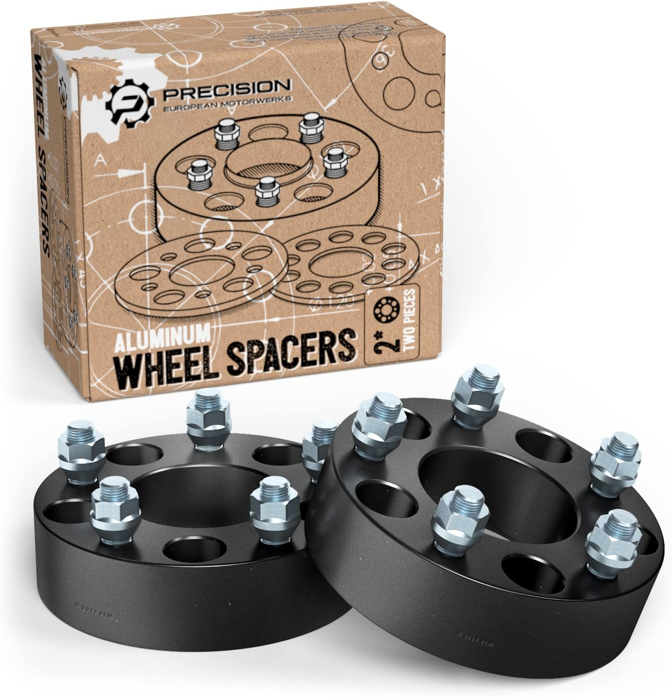 for Dodge Ram 1500 2pc Wheel Spacers Ford F100 F150 E100 E150 Bronco RockTrix for Precision European Jeep CJ3 CJ5 CJ6 CJ7 Scrambler 2 Thick Silver Color Precision European Motorwerks 5x5.5 to 5x5.5 with 1//2 Studs